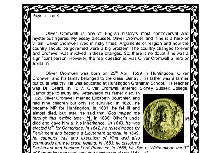 was oliver cromwell a hero or a villain a level history  document image preview