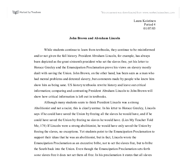 john brown and abraham lincoln a reappraisal a level history  document image preview