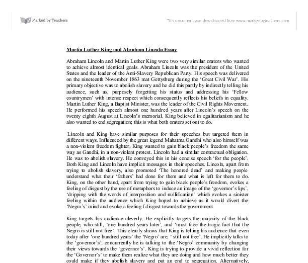 Martin Luther King And Abraham Lincoln Essay  Alevel History  Document Image Preview English Essay Ideas also Computer Science Essay 1984 Essay Thesis