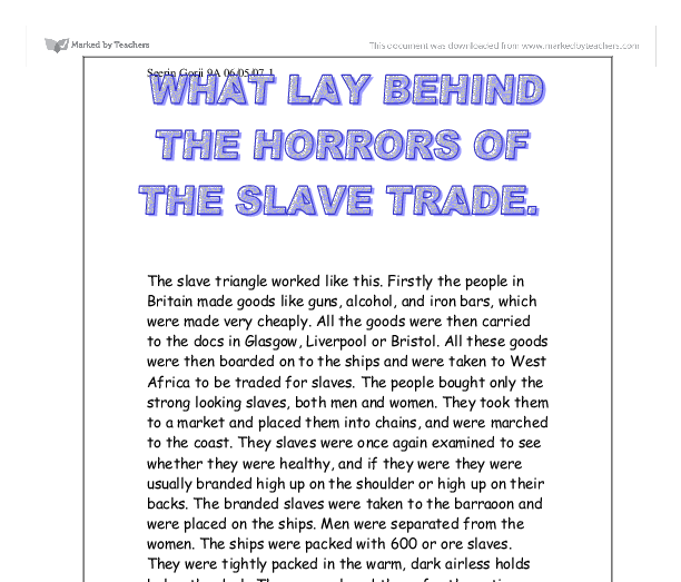 slave trading essay Free essay: between the seventeenth and nineteenth centuries, many europeans found their careers in the slave trading market approximately twelve million.
