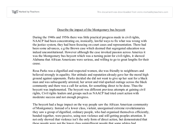 describe the impact of the montgomery bus boycott a level document image preview