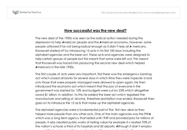 new deal and essay Free essays from bartleby | reasons why roosevelt introduced the new deal there were three main reasons why roosevelt introduced the new deal.