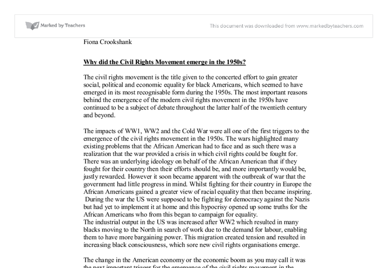why did the civil rights movement emerge in the s a level  document image preview