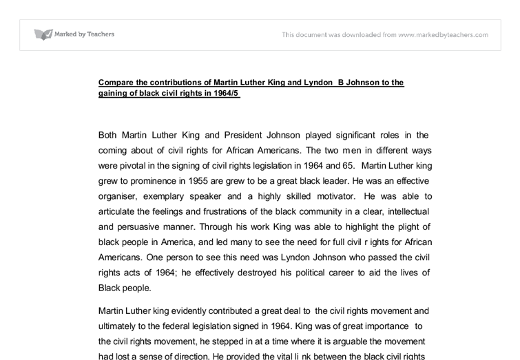 compare the contributions of martin luther king and lyndon b  document image preview