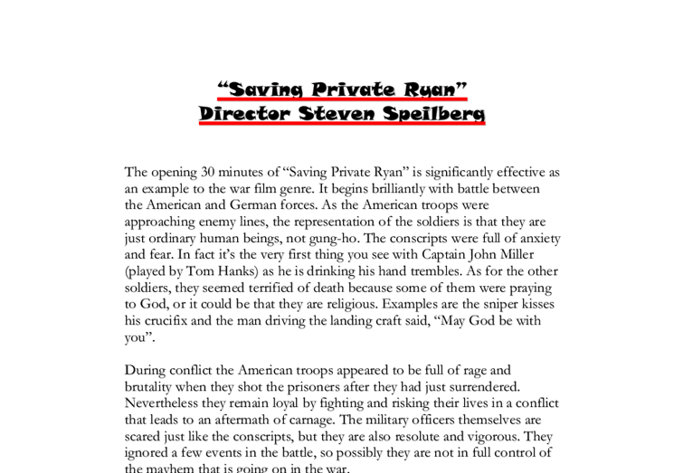 saving private ryan theme essay Saving private ryan essay - why be concerned about the essay receive the necessary help on the website professional scholars working in the service will do your.