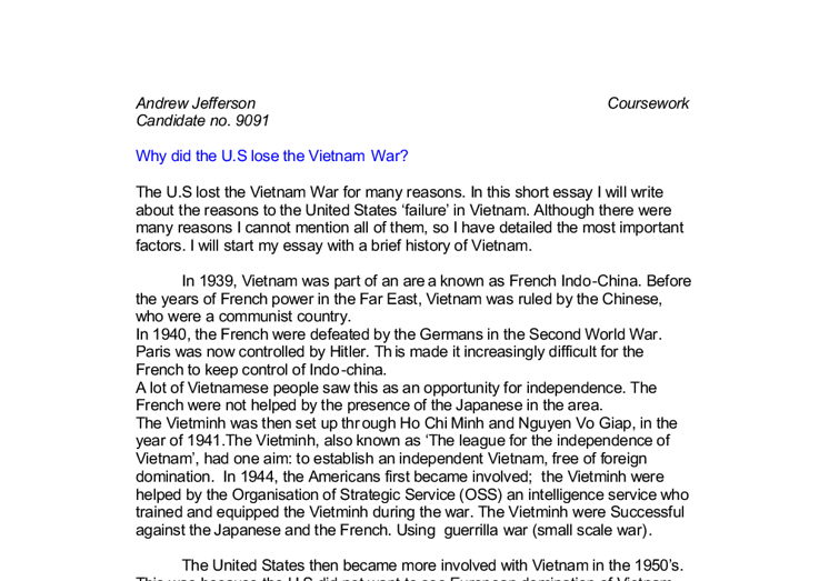why did the u s lose the vietnam war a level history marked  document image preview