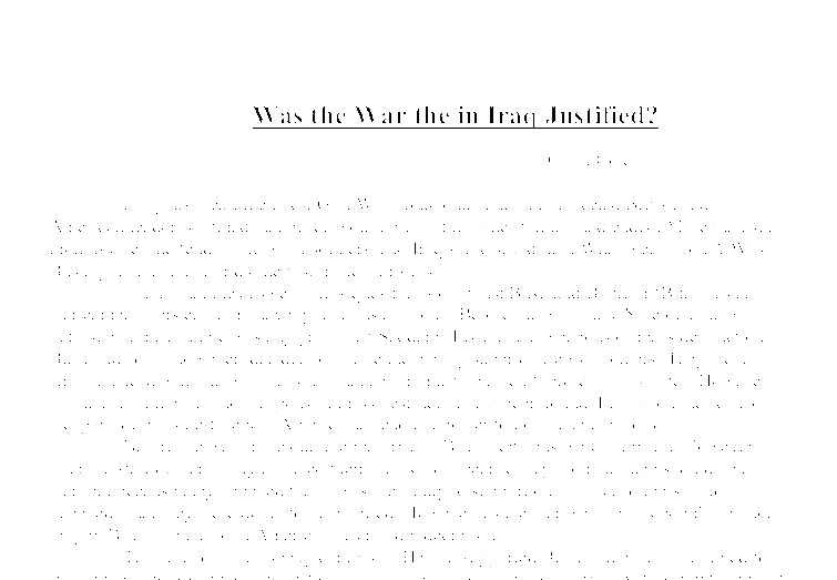 was the war in iraq justified essay