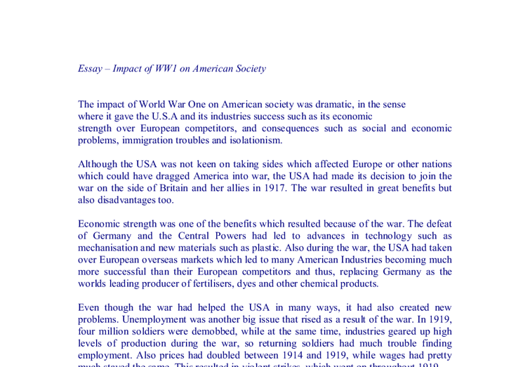 the impact of world war on american society a level history  document image preview