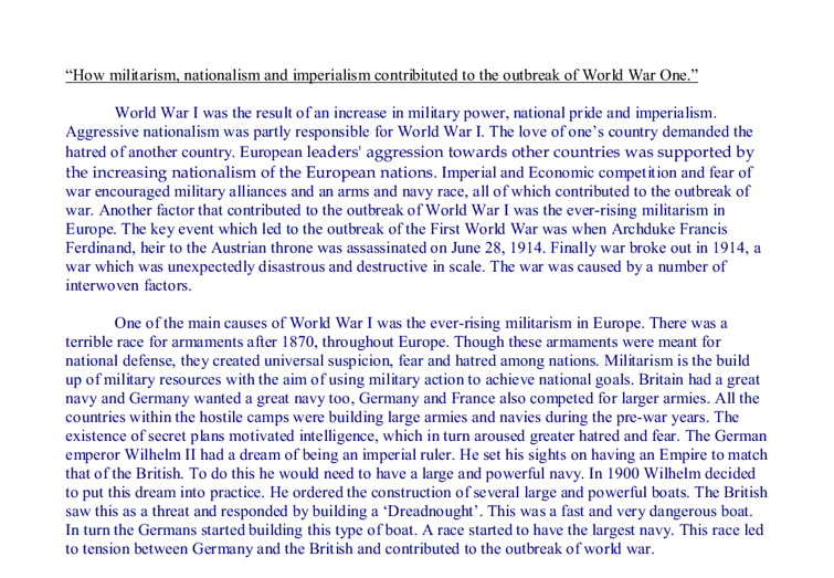 Imperialism world war 1 essay