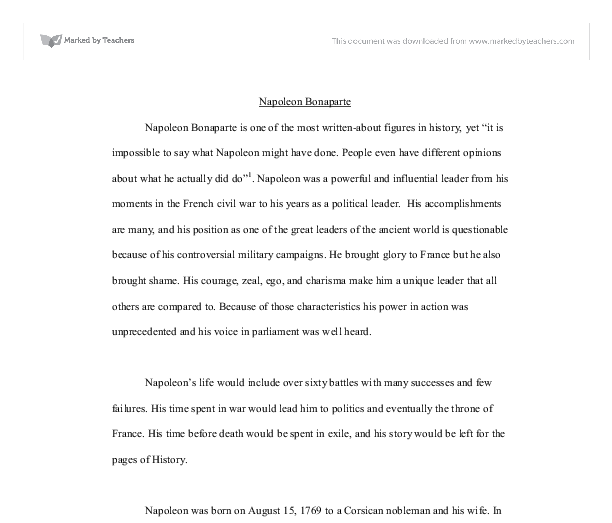 How To Write A Thesis Sentence For An Essay Document Image Preview Essay Writing Scholarships For High School Students also Thesis For A Narrative Essay Napoleon Bonaparte  Alevel History  Marked By Teacherscom Locavore Synthesis Essay