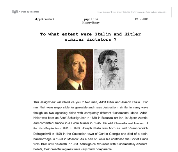 to what extent were stalin and hitler similar dictators a  document image preview
