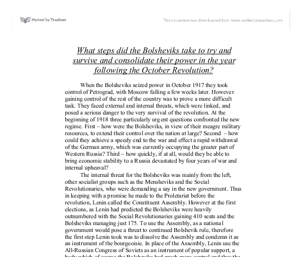 how did the bolsheviks consolidate their The were many factors which helped the bolsheviks consolidate their power in 1918 - 21, an overview can be seen in between this time if you take a look at the state russia was in at the beginning of 1917 and at the end of 1921.