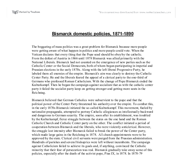 What are the successes and failures of Bismarck's domestic policies?