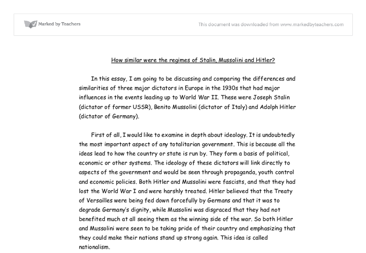 how similar were the regimes of stalin mussolini and hitler a  document image preview