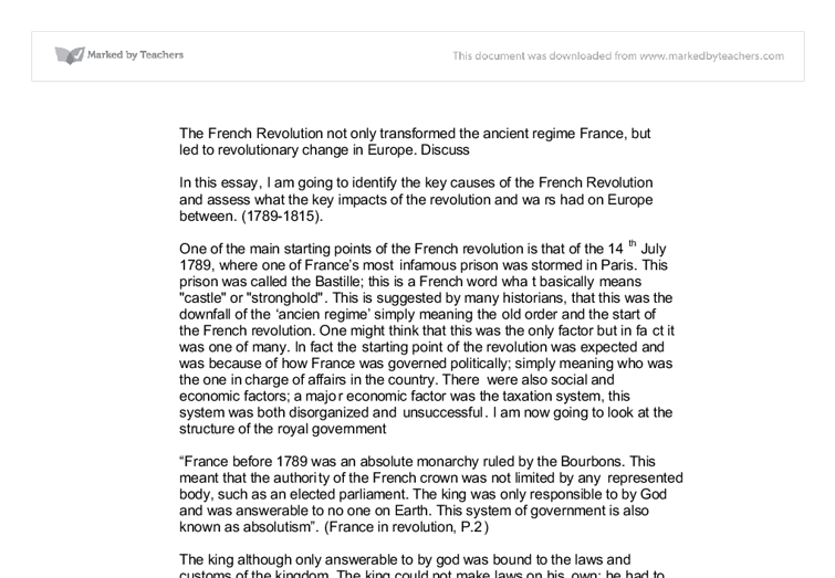 A Comparison of the French Revolution and American Revolution