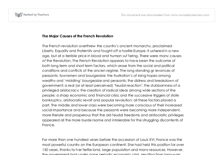 major causes of french revolution a level history marked by  document image preview
