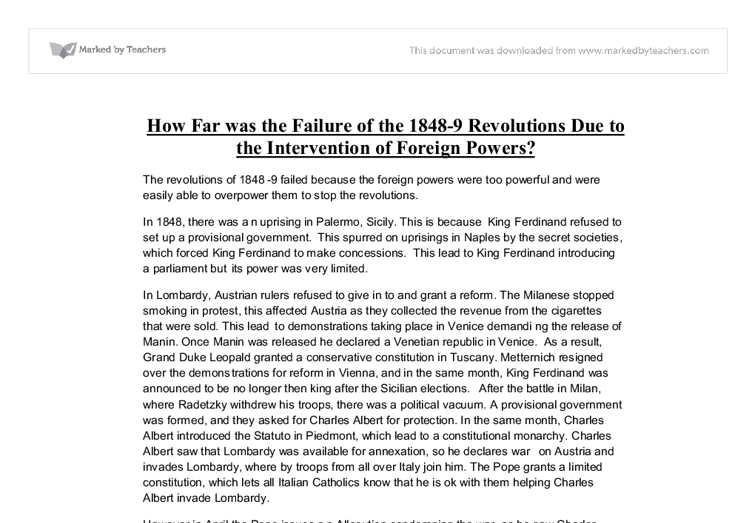 failure of the italian revolutions essay Why were the revolutions of 1848 a failure (selfaskhistorians) infighting may be the single most unifying description of the italian revolutions.