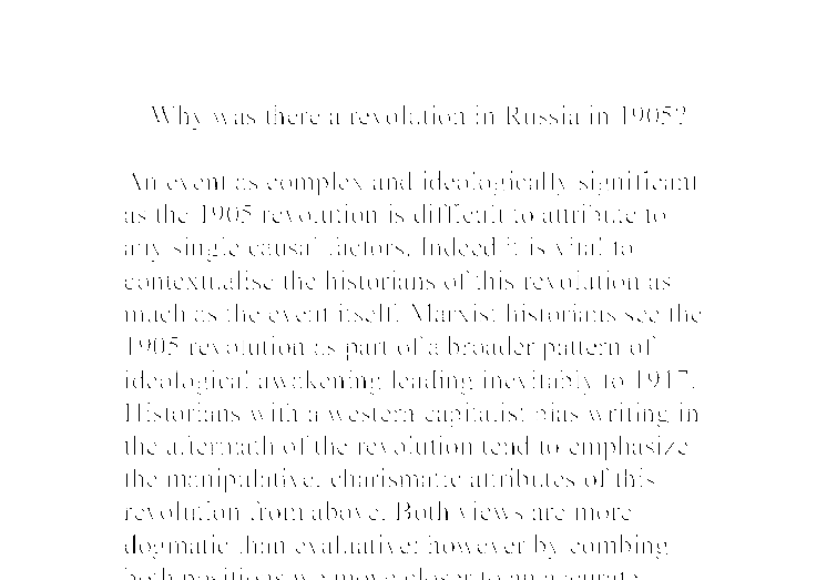why was there a revolution in russia in 1905 essay Socialist revolutionaries wanted to stir up a peasant revolution which would lead to there was no attempt why was there a revolution in russia in 1905.