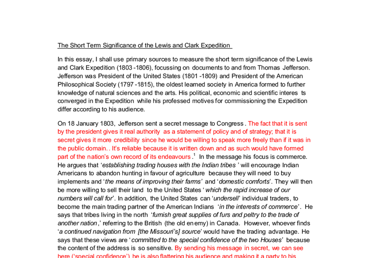 the expedition of lewis clark essay Lewis and clark expedition essay 926 words | 4 pages they stayed at the fort until april 1805 so far, lew and clark had discovered 108 new plant species and 68.