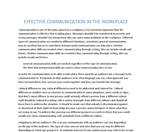 essay on workplace communication This essay has been submitted by a law student this is not an example of the work written by our professional essay writers communication at the workplace.