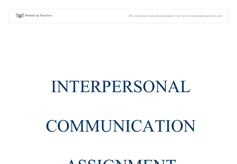 Interpersonal communication & essay questions