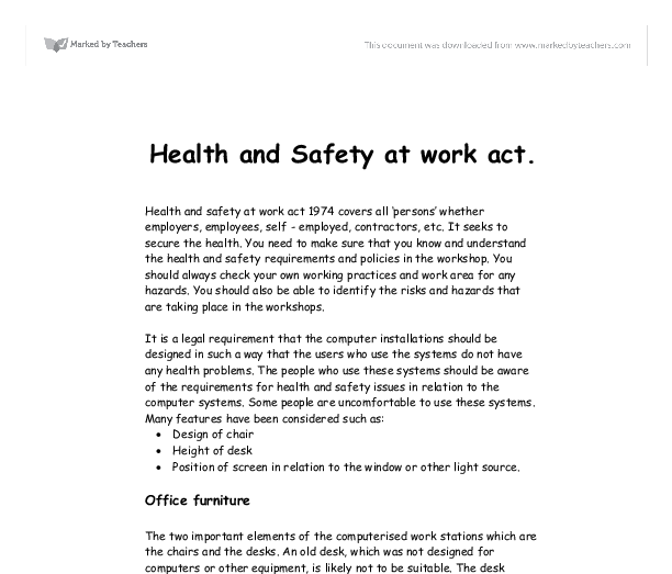 health and safety essay ict Health and safety 1  the computer screen which can lead to health problems  eg miscarriages  related gcse legislation & the legal framework essays.