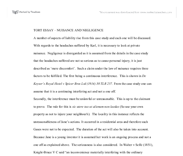 tort essay nuisance and negligence a level law marked by  document image preview