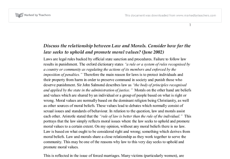 "law and morality essay a level His essay, ""famine, affluence, and morality his thesis supports the idea that ""we ought to give until we reach the level law and morality in."