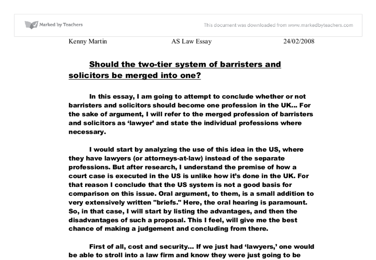 gcse law courswork solicitors and baristers essay
