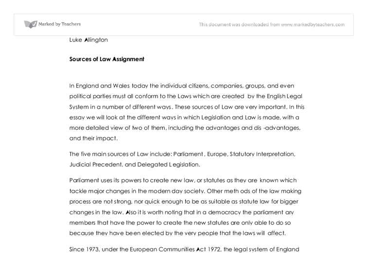 sources of law a level law marked by teachers com document image preview