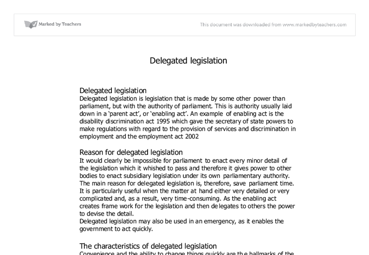 Delegated legislation 2 essay