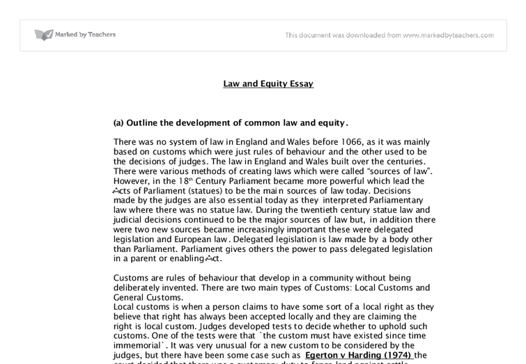 common law and equity essay a level law marked by teachers com document image preview