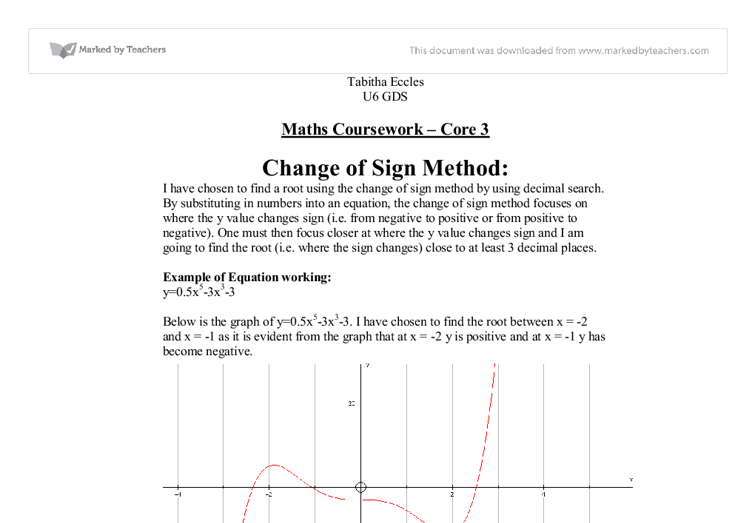 maths c3 coursework rearrangement method