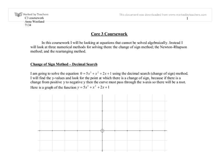 C  Coursework  Numerical Methods   A Level Maths   Marked by