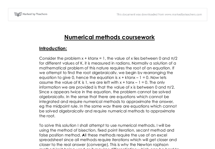 mei numerical integration coursework
