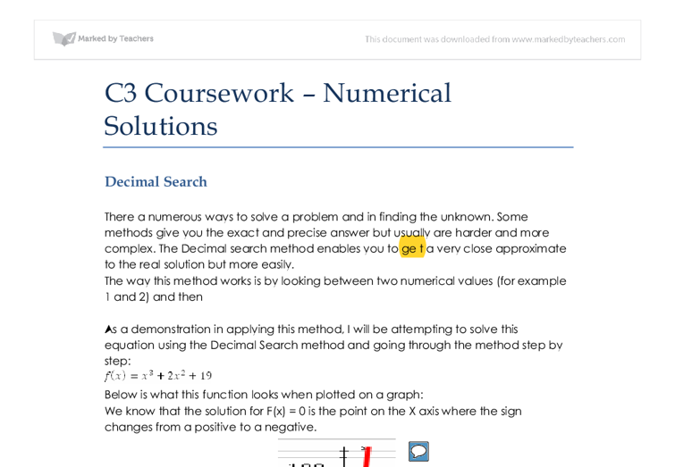 c3 coursework numerical solutions