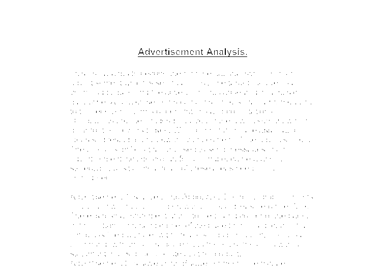 Advertisement Ad Essay Analysis