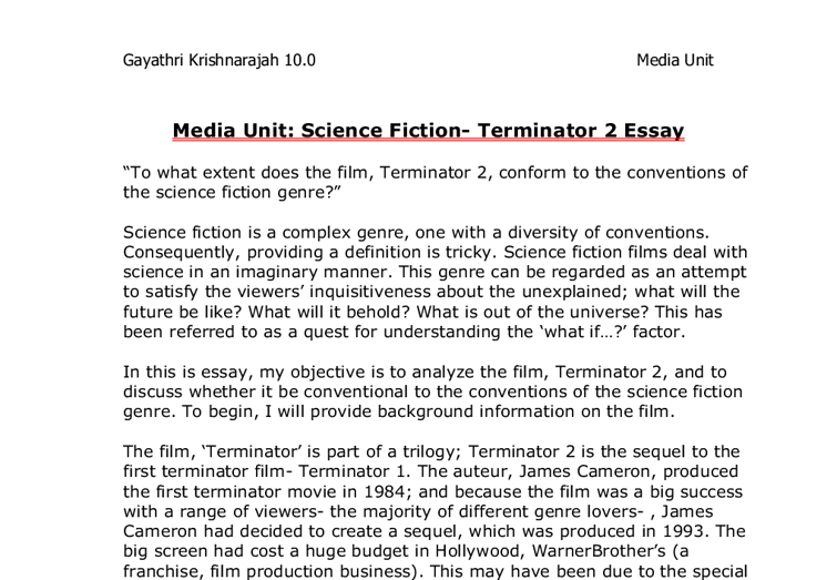 To What Extent Does The Film Terminator  Conform To The  Document Image Preview