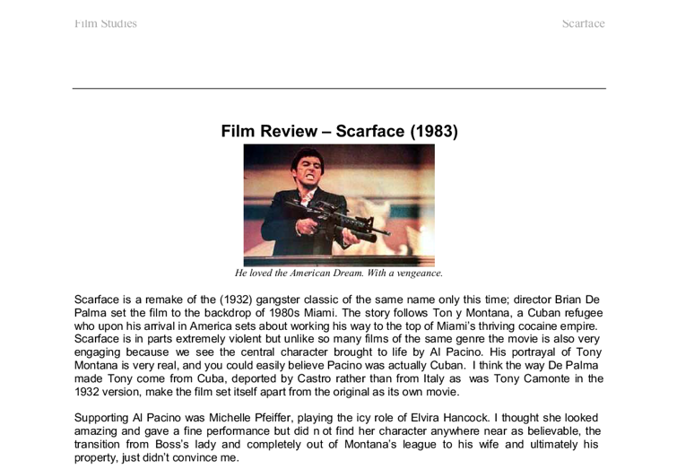 Scarface Movie Review