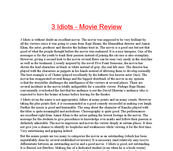 3 idiots film review