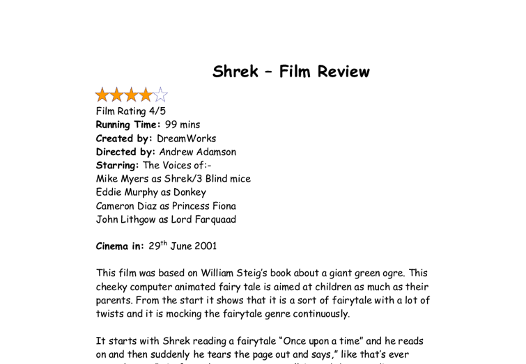 essays on shrek the movie Analysis of gender representations in the movie shrek analysis of gender representations in the movie shrek 10 october 2016 gender clearly displaying its difference, shrek was the first film to win an academy award for best animated feature in 2001 in this essay.