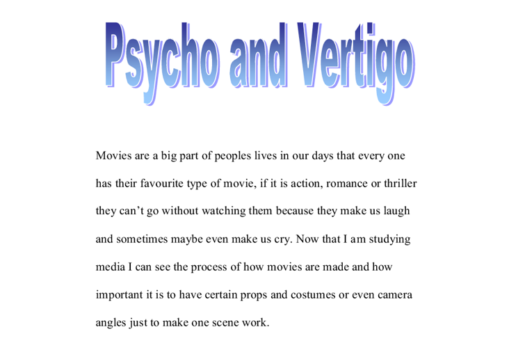 Psycho and Vertigo comparison.