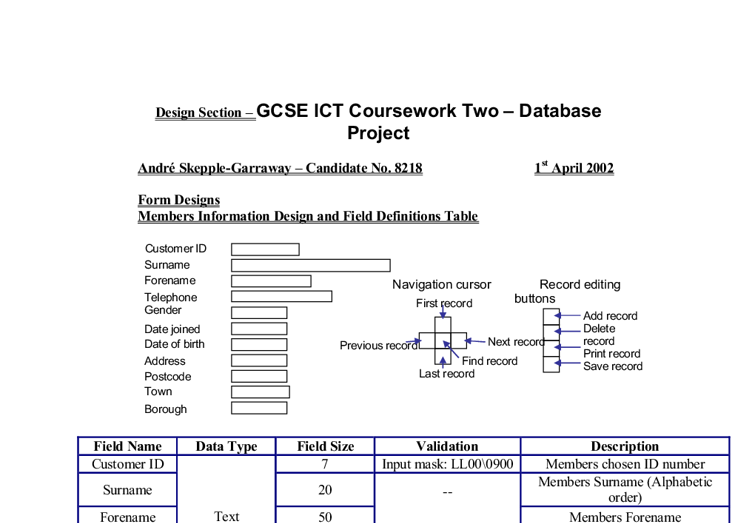 gcse ict database coursework help