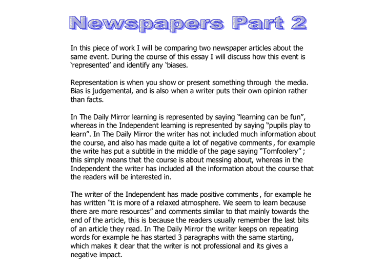 comparing two newspaper articles