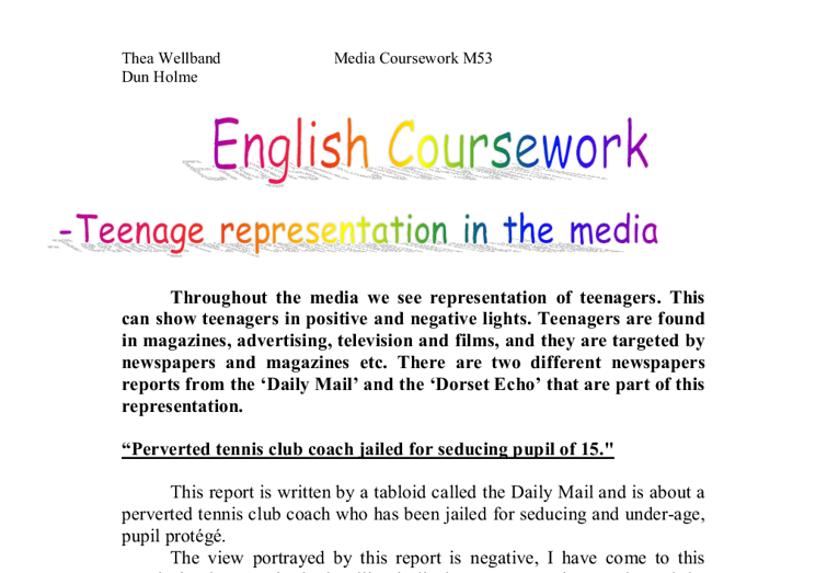 as english language coursework representation production piece Study a degree in film and television production at edge  the aesthetic considerations in the production of a piece of creative work  english language.