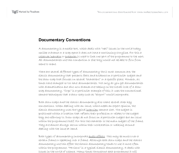Documentary conventions essay