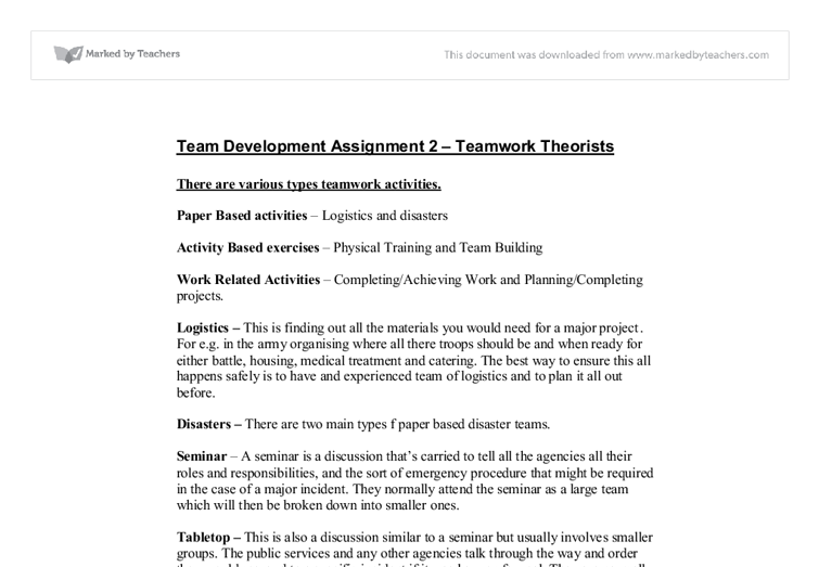Teamwork essays