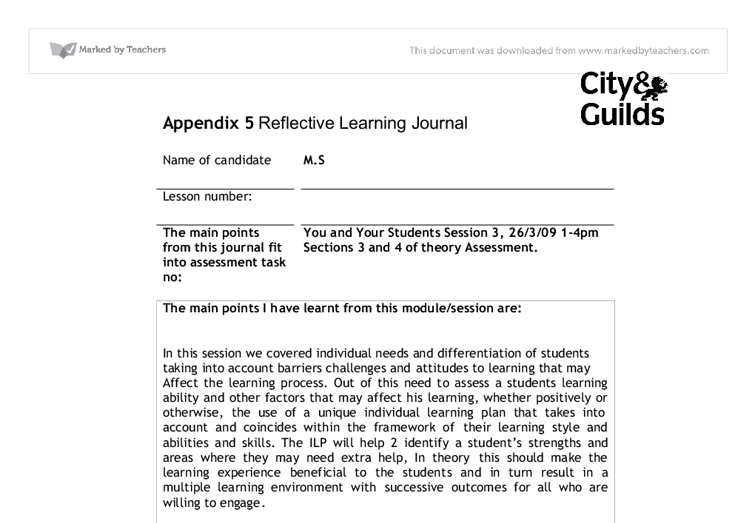 reflective journal sample Assignment 1 personal reflection journal entry wwwreflectivejournalnet outstanding reflective journal sample | reflective journal.