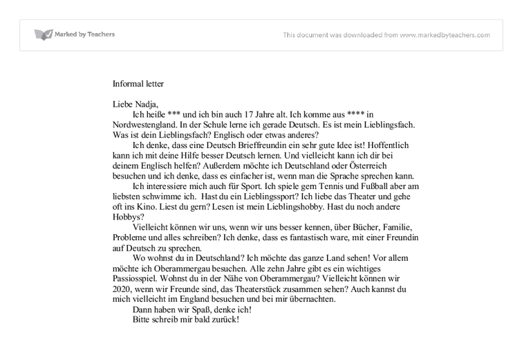 Writing a letter in german language