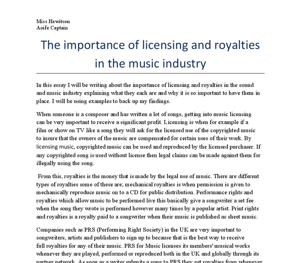 the importance of licensing and royalties in the music industry  document image preview